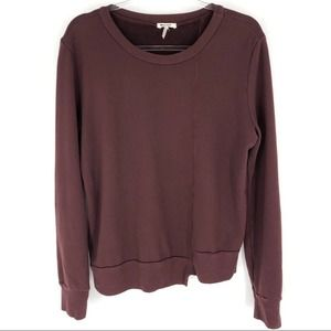 LA Made Burgundy Sweatshirt Asymmetrical Hem L